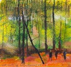 Kurt Jackson: Collecting chanterelles. September 2014 Campden Gallery, fine art, Chipping Campden, camden gallery, contemporary, contemporary arts, contemporary art, artists, painting, sculpture, abstract painting, gloucestershire,  cotswolds, painting for sale, artwork for sale, modern art gallery, art exhibitions,arts gallery, gallery art, art gallery UK