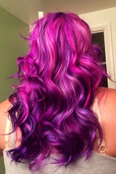 Vibrant purple hair - top layers are more of a violet tone, whereas the ombre underneath is darker and contains more blue tone for an intense purple colour...