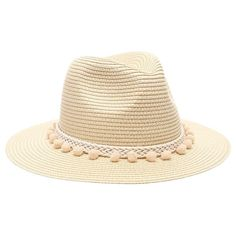 52693aed2 Buy Women's Summer Panama Style Mid Brim Beach Sun Straw Hat With Pom Pom  Belt Band. - Beige - and Many Other Latest Designer Hats & Scarves, Enjoy  Free and ...