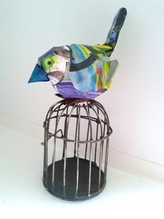 """"""" Johny Crap"""" bird 2013 : made from a magazine page containing work of the artist alias Johnny Crap.  Gea Andriessen facebook.com/degroeneuil"""