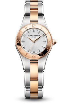 Discover the Linea 10015 Ladies two-tone and quartz watch, with interchangeable straps, designed by Baume et Mercier, Swiss Watch Maker.