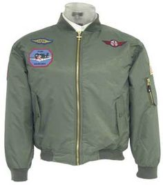 Kids MA1 Green Nylon Aviation Bomber Jacket with Military Patches KMA1 | eBay