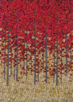 """Red Maples by Terri Borges 2013 Mosaic 16"""" x 22"""" Framed $1875 Smalti, Marble and Unglazed Porcelain"""