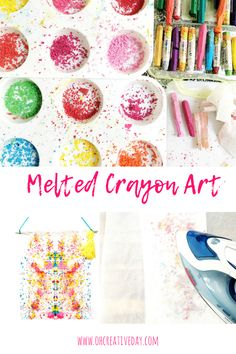 Art therapy activities simple Melted crayon art is a simple project that combines a cool process with striking results. Easy Crafts For Kids, Projects For Kids, Fun Crafts, Art For Kids, Craft Projects, Arts And Crafts, Preschool Projects, Kid Art, Art Therapy Activities