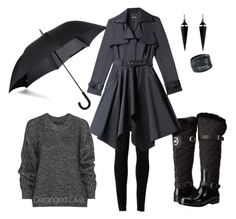 """When it Rains by Deranged Diva"" by derangeddiva on Polyvore featuring MICHAEL Michael Kors, Fulton, Belstaff, Max Studio, Bebe, Oasis and ABS by Allen Schwartz"