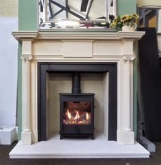 Buy online - See our Early Century Georgian Style Painted Carved Wood Mantel Fireplace Surround - Price: - Part of our Range Fireplace Mantel Surrounds, Wood Fireplace Mantel, Wood Mantels, Georgian Fireplaces, Fluted Columns, Georgian Interiors, Drawing Room, Sweet Home, Home Appliances