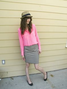Hat: Marshalls   | Top: J.Crew | Skirt: Madewell  | Shoes: Target