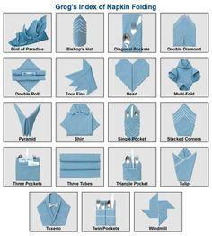 Index of Napkin Folds.  Animated tutorials make napery seem easy.