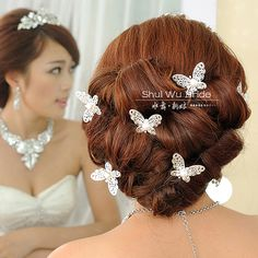 Aliexpress.com : Buy wedding bride hair accessory married bridal wedding dress silver rhinestone pearl flower butterfly diamond maid of honor from Reliable dress women suppliers on Grocery: Multifarious Choice. $12.00