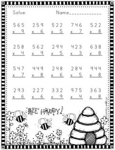 Three Digit Multiplication Spring Themed by Copper Classroom 3rd Grade Math Worksheets, Free Math Worksheets, Subtraction Worksheets, 4th Grade Math, Math Resources, Math Drills, Math Sheets, Math Games, Classroom Games