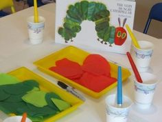The Very Hungry Caterpillar and activity. Use tissue paper and watered down glue with pain brushes and make your our caterpillars.