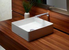 Faucet built into backsplash and wood countertops? I don't like sink above counter. Masculine Bathroom, Concrete Sink, Fire Clay, Bathroom Goals, Ceramic Materials, Wood Countertops, Bathroom Renos, Vanity Sink, Bathroom Interior Design