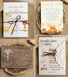 Merveilleux Country Rustic Fall Wedding Invitations With Lace And Ribbon
