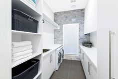 Decide how you desire your laundry room to operate. It's all too simple for a laundry room to become a dark closet full of dirty clothes. Industrial laundry rooms are designed in a convention… Laundry Room Tile, Modern Laundry Rooms, Room Tiles, Laundry Shelves, Home Design, Interior Design, California Bungalow, Laundry Room Inspiration, Small Laundry