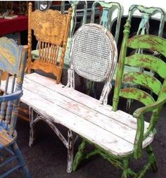 3 old chairs made into a bench.
