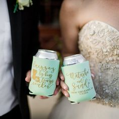 NOLA Wedding Favors from Sip Hip Hooray!!  Wedding Day Essentials and Party Favors from Sip Hip Hooray!! ANY EVENT!! ANY DESIGN!! ANY CUSTOMIZATIONS!!! ANY COLOR COMBINATION! Send your guests home with favors they will use for years to come! Our can coolers are made to order and add a personal touch to any occasion! With our large selection of designs, can coolers and ink colors, and camo prints, your options are endless!  CHOOSE UP TO 4 CAN COOLER COLORS WHEN ORDERING OVER 50 QUANTITY…
