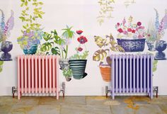 Beautiful wallpaper and radiator pastels