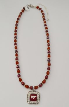 VA Tech beaded necklace by Jewelrybydawn1 on Etsy, $24.00