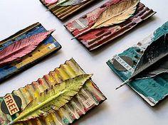 Cardboard Leaf. Cardboard, paint, magazine scraps.