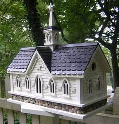 Village Church Birdhouse for the Lovebirds to get married, plenty of room for guests
