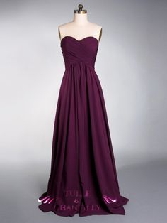 Aubergine Chiffon Cross Ruched Sweetheart Bridesmaid Dress Style #TBQP096 from Tulle & Chantilly