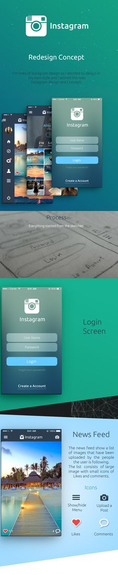 This is just a concept, how a UX designer would like Instagram Redesign to be.
