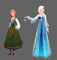 Frozen - Anna and Elsa Dress Designs by lostie815.deviantart.com on @DeviantArt