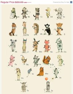 SALE Children's Wall Art Print ABC Alphabet Poster  por holli