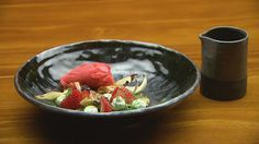 MasterChef - Strawberry and Liquorice Sorbet with Roasted Fennel and Syrup - Recipe By: Tamara Graffen - Contestant Strawberry Puree, Masterchef Recipes, Masterchef Australia, Roasted Fennel, Oven Roast, Serving Plates, Sorbet, Tray Bakes