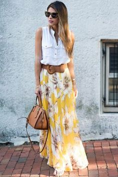 Chic Yellow Blossoming Floral Chiffon Maxi Skirt, Shop for cheap. Best Picture For wrap Maxi Skirt Yellow Skirt Outfits, Maxi Skirt Outfits, Dress Skirt, Maxi Skirt Outfit Summer, Midi Rock Outfit, Long Chiffon Skirt, Floral Chiffon, Floral Maxi, Floral Skirts