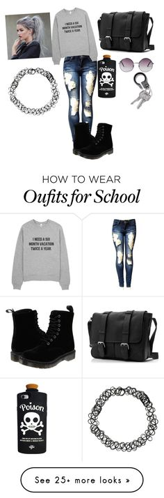 """i hate school"" by xtearsandsinsx on Polyvore featuring Dr. Martens, Valfré and Monki"