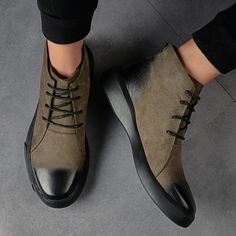 Autumn New Mens Fashion Casual Boots Suede Leather Retro lace up high top Shoes Striped Ankle Boots, Ankle Boots Dress, Mens Ankle Boots, Mens Shoes Boots, Mens Boots Fashion, New Mens Fashion, Dress With Boots, Shoe Boots, Dress Shoes