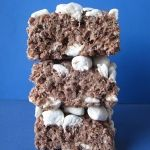 Hot Chocolate Krispies 6 c. cocoa krispies, 1/4 c. butter, 1-10.5 oz bag mini marshmallows + 4 c. divided, 6 T. hot chocolate mix. Makes 9x9 pan. Melt butter, add bag marshmallows, then hot chocolate, stir and pour over krispies, mix well. put 4 cups mini marshmallows on top.
