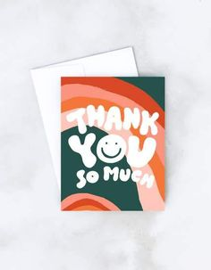 A groovy note of thanks in pillowy retro lettering pops off a hand painted rainbow background on this funky greeting card. Eight cards and envelopes. • HEAVY, MATTE EGGSHELL STOCK • BLANK INSIDE • 4 3/4″ X 5 1/2″ • PAIRED WITH MATCHING ENVELOPE Small Business Female Owned Cute Thank You Cards, Thank You Card Design, Business Thank You Cards, Thank You Card Template, Thank You Stickers, Thank You Greeting Cards, Personalized Thank You Cards, Birthday Card Drawing, Birthday Card Design