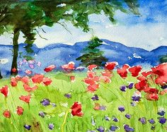 "Watercolor landscape painting, fine art digital print of my original watercolor painting, colorful vibrant scene, Flower Meadow, 11"" x 14"""