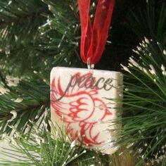 Peace Dove Christmas Ornament Red including Gift by MyLittleChick, $12.00