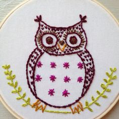 Owl embroidery hoop by itsonlyyou on Etsy Embroidery Hoop Art, Art Ideas, Crafting, Brooch, Mom, Unique Jewelry, Handmade Gifts, Vintage, Etsy
