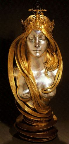scream-of-butterfly:This bust, repeatedly but almost certainly incorrectly described as being that of Sarah Bernhardt or Cleo de Merode, is ofsilvered and gilt hollow cast bronze.It is one of the masterpieces of decorative sculpture fromthe turn of the century. Mucha designed it for the 1900 WorldExhibition in Paris. The ingenious way in which the long, openhair coils over the naked bust and around the conical trunkgives the sculpture an enigmatic character, in keeping with…