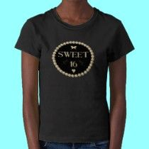 "Sweet 16 - Pearls on black ""velvet"" t-shirts by Artists4God"