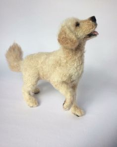 """Needle Felted Goldendoodle. VEGANIZE this, please! Art and creativity should NEVER support or condone animal cruelty and exploitation. Make sure your art/craft supplies aren't sourced from animals (such as """"wool"""" felt, mohair, angora or alpaca fur, silkworm thread, feathers, etc.) and that they reflect a true reverence for life. Always use animal-free alternatives. Be kind. Be fair. Be vegan."""