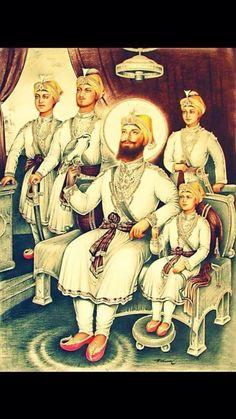 Guru Gobind Singh with His Four Sons - Sikh Posters (Reprint on Paper - Unframed) Guru Granth Sahib Quotes, Shri Guru Granth Sahib, Guru Nanak Ji, Nanak Dev Ji, Punjabi Boys, Punjabi Funny, Zorawar Singh, Bhagat Singh Wallpapers, Sikhism Religion