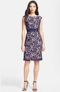 Adrianna Papell Lace Overlay Sheath Dress  Regular & Petite