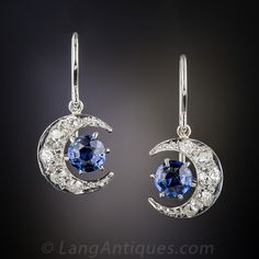 Antique Sapphire and Diamond Crescent Moon Earrings, The the moon and stars will always swing and sparkle over your shoulders with these bright celestial jewels, finely crafted in platinum over 18K gold - circa 1900. The pair of sapphires weigh one carat, the old mine-cut diamonds total half-a-carat.