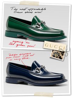 I would rock the shit out of some green and navy Gucci loafers