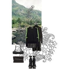 Green black and leather by ashbar on Polyvore featuring Kenzo, Comme des Garçons, Alexander Wang, Jenna Leigh, Dsquared2 and Marie Turnor