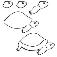 Drawing turtle: Learn how to draw a turtle with simple step by step instructions. The Drawbot also has plenty of drawing and coloring pages! Easy Drawings Sketches, Doodle Drawings, Cartoon Drawings, Animal Drawings, Drawing Ideas, Easy Drawings For Beginners, Easy Drawings For Kids, Water Drawing, Art Lessons For Kids