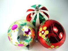 Hand Painted Vintage Christmas Ornaments Set of 3 by ChromaticWit