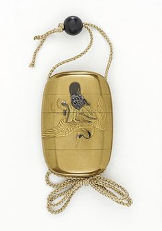 Kogyokusai (Japan)   Inro, Ojime, Netsuke, early 19th century  Costume/clothing accessory/waistwear, Four-case inro with design of Jurojin and crane in gold takamakie on kinji ground; shakudo bead ojime; ivory hat netsuke signed Masatsugu