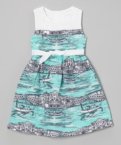 Turquoise Venice Bow Dress - Infant, Toddler & Girls | Daily deals for moms, babies and kids