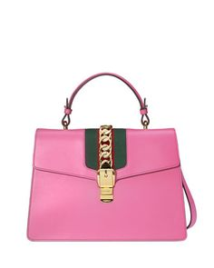 Sylvie+Leather+Top-Handle+Satchel+Bag,+Bright+Pink+by+Gucci+at+Neiman+Marcus.